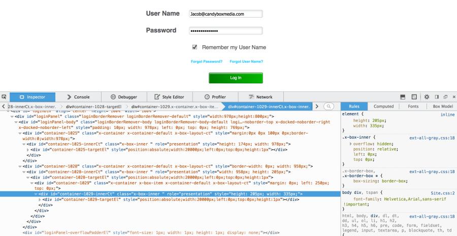NCR POS JavaScript Login Page